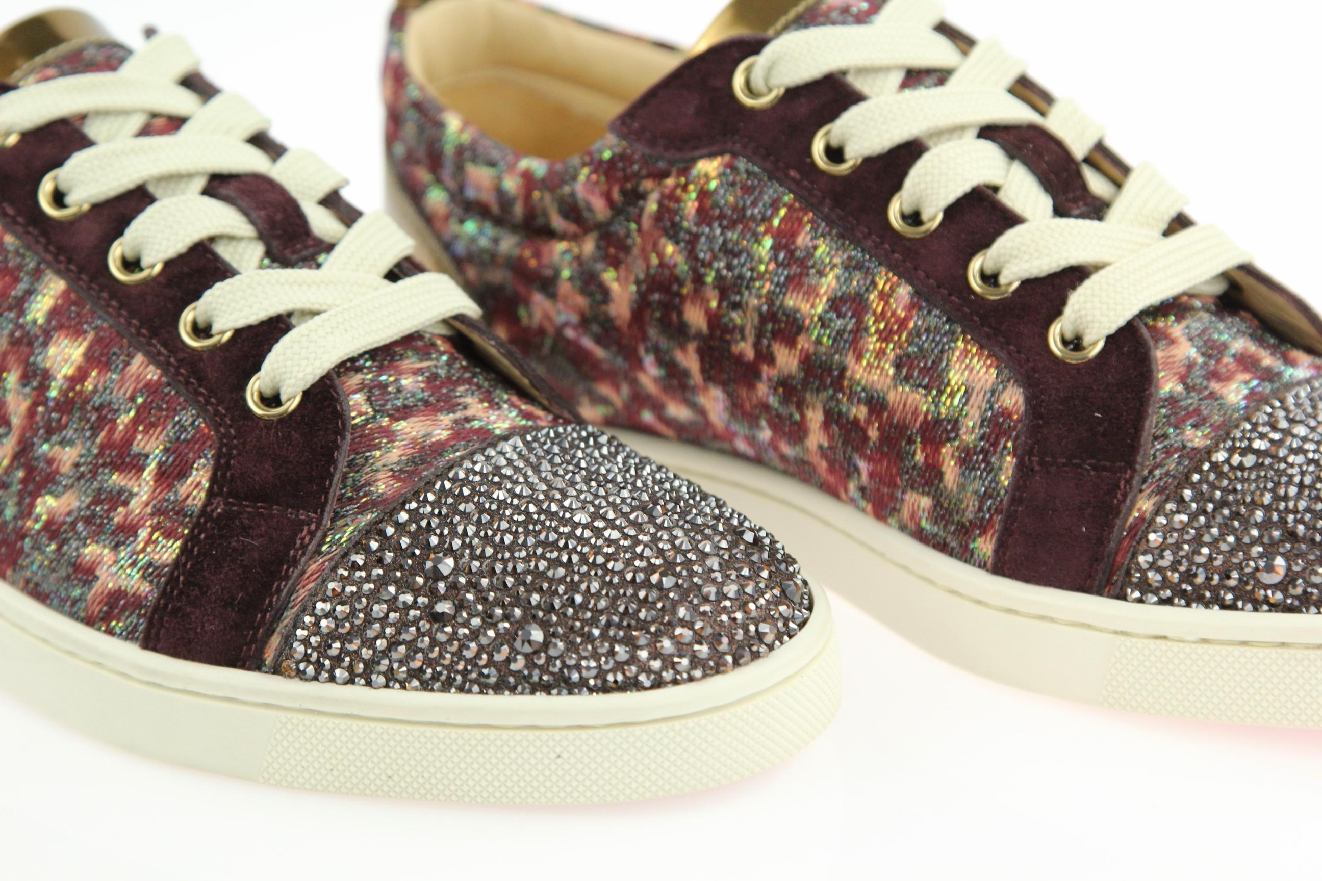 43727843936e ... Christian Louboutin Purple Bordeaux Gondola Strass Low-top Low-top  Low-top Sneakers ...