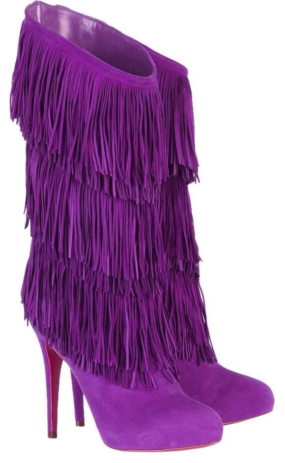 Christian Louboutin Purple New Forever Tina Fringe Suede 38.5 Boots/Booties Size US 8.5