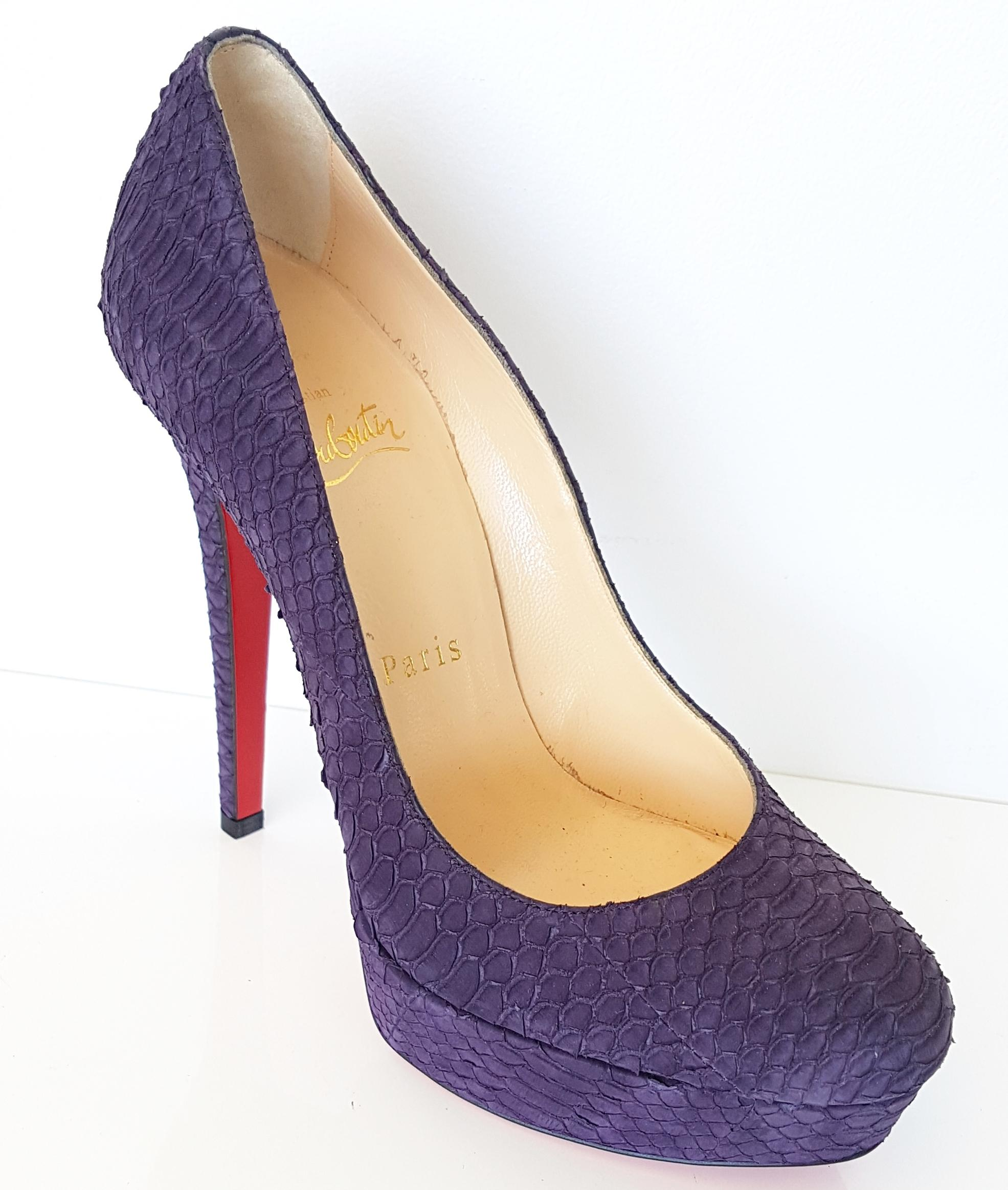 christian louboutin purple violet new bianca watersnake leather rh tradesy com