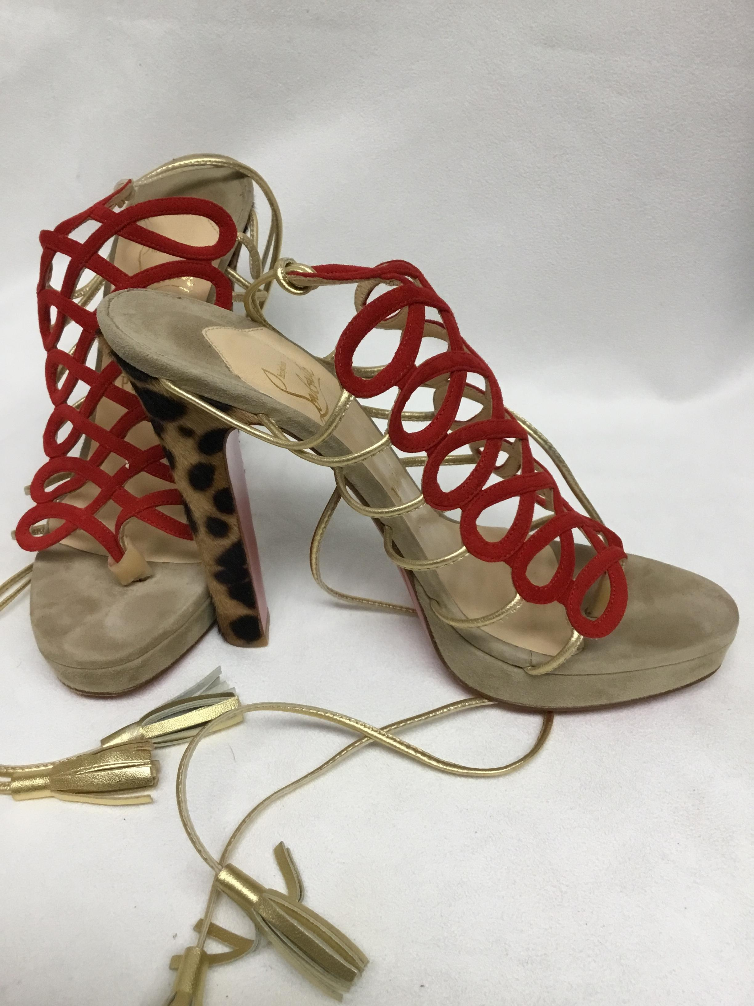 2ef672bad32 Christian Christian Christian Louboutin Red Suede with Animal Print Pony  Skin Heel. Sandals Size EU 38.5 (Approx. US 8.5) Regular (M