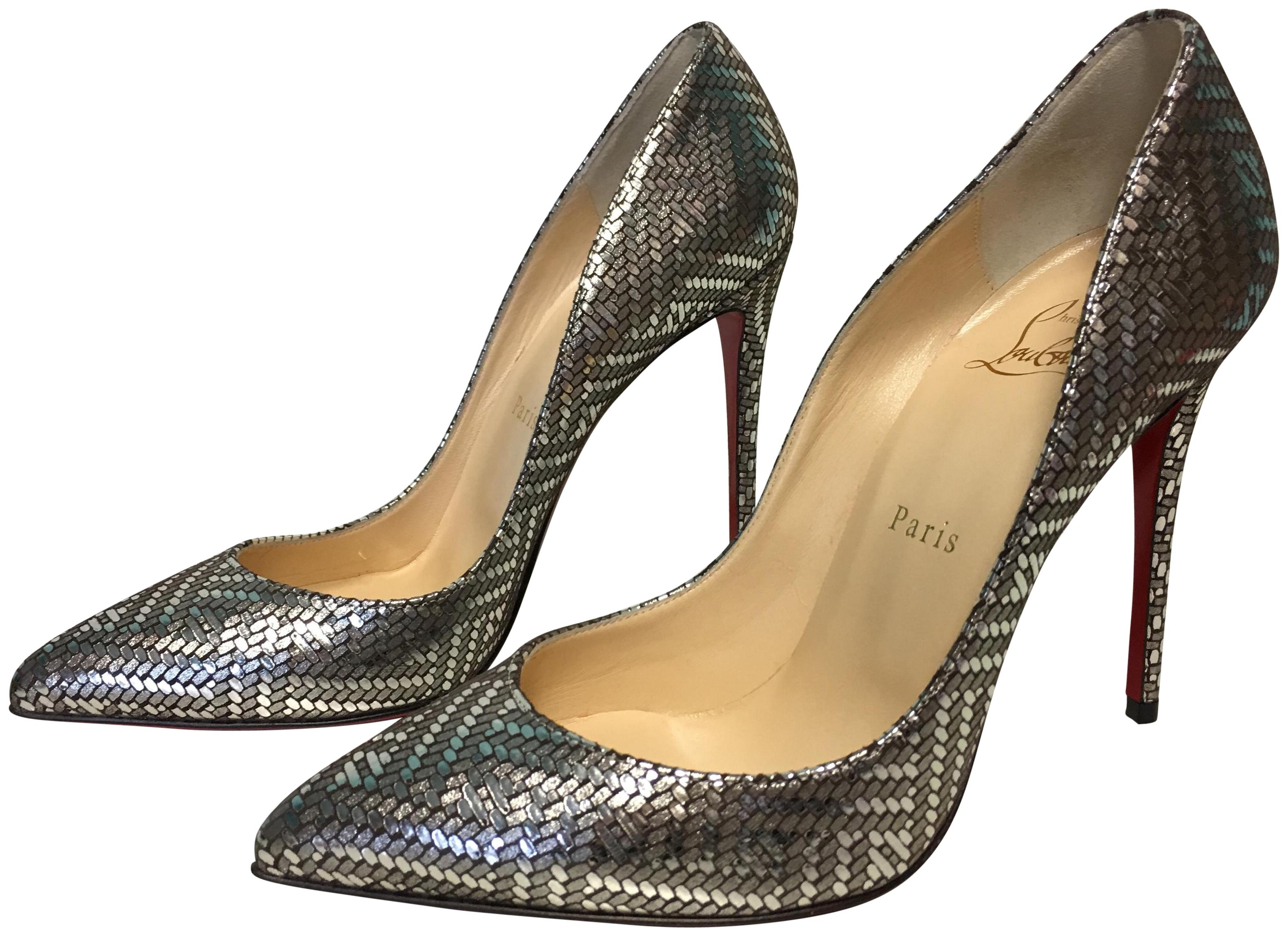 c93e268d633a Christian Louboutin Silver Classic 100mm Pigalle Follies Leather Antic  Antic Antic Lame Gourmette Point-toe