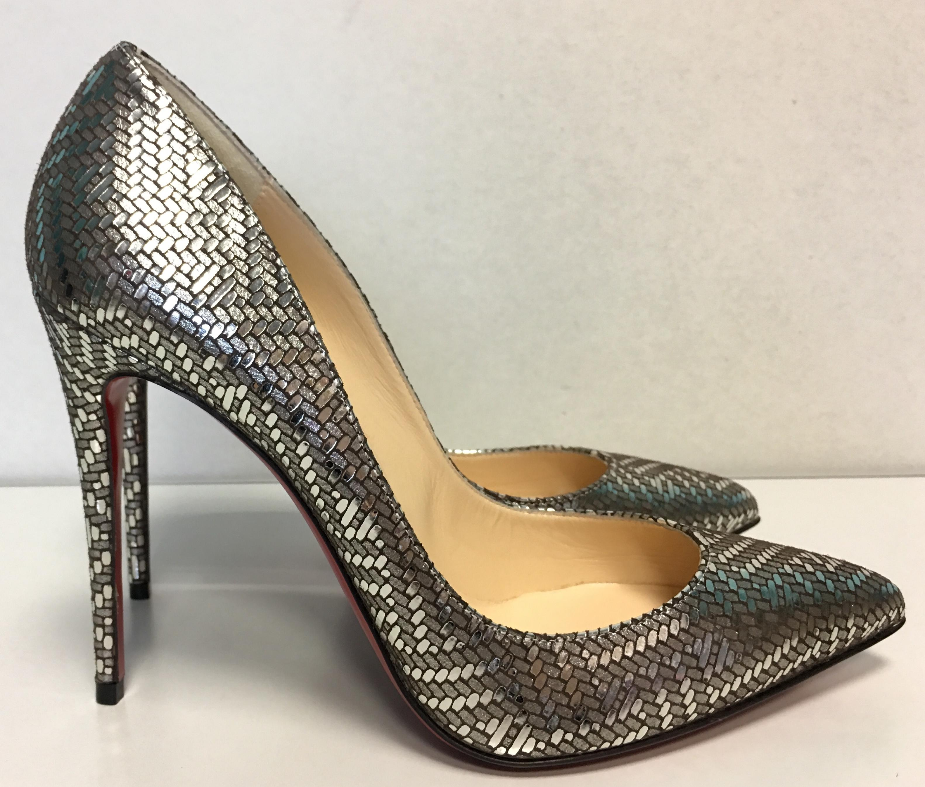 694aa2036458 ... Christian Louboutin Silver Classic 100mm Pigalle Follies Leather Antic  Antic Antic Lame Gourmette Point-toe ...