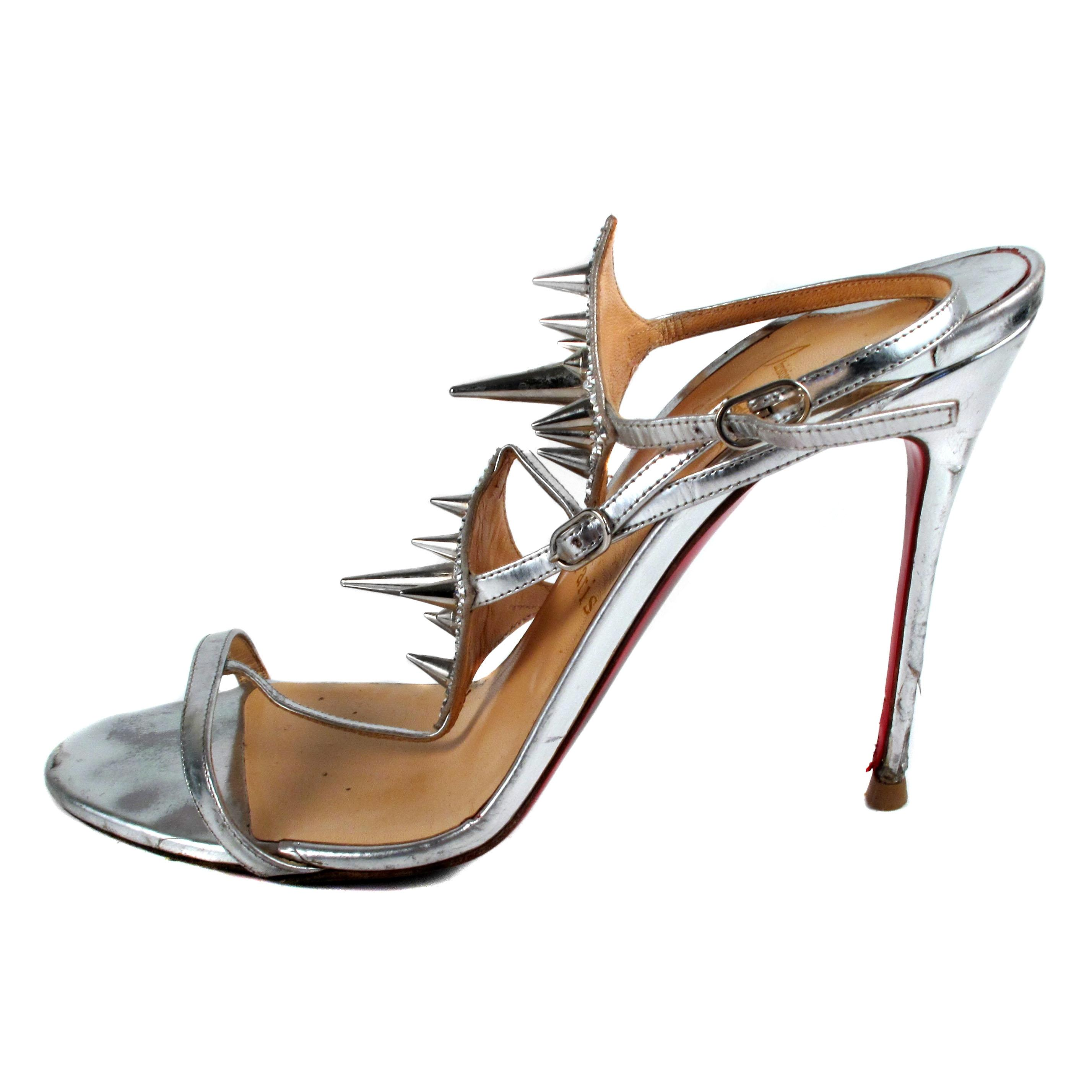 38cdfc40d ... Christian Louboutin Silver Heels - 39.5 39.5 39.5 Spike Crystal Lady  Max Specchi Sandals Size US ...