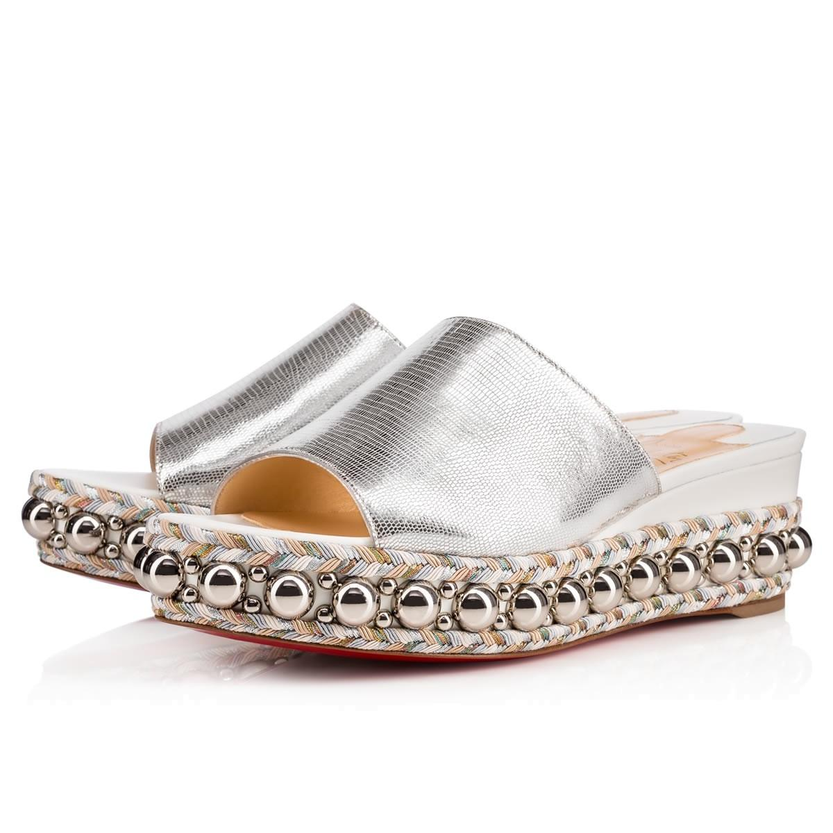 9c3a9cde192b Christian Louboutin Silver Silver Silver Janibasse Stud Wedge Slides Mules  Sandal Platforms Size EU 39 (Approx. US 9) Regular (M