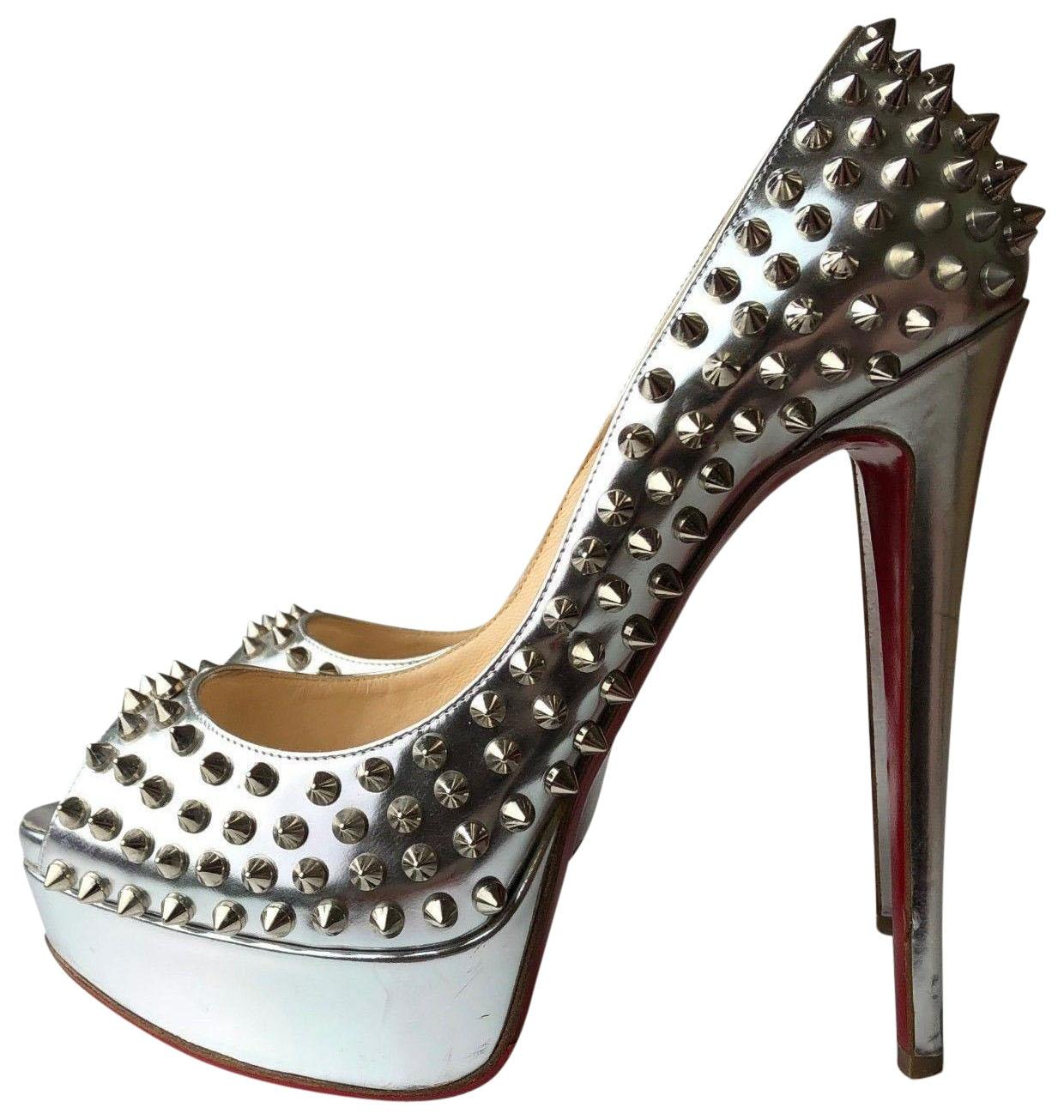 a52756f99c6 Christian Louboutin Silver Lady Lady Lady Peep Spikes 150 Leather Pumps Size  EU 39 (Approx. US 9) Regular (M