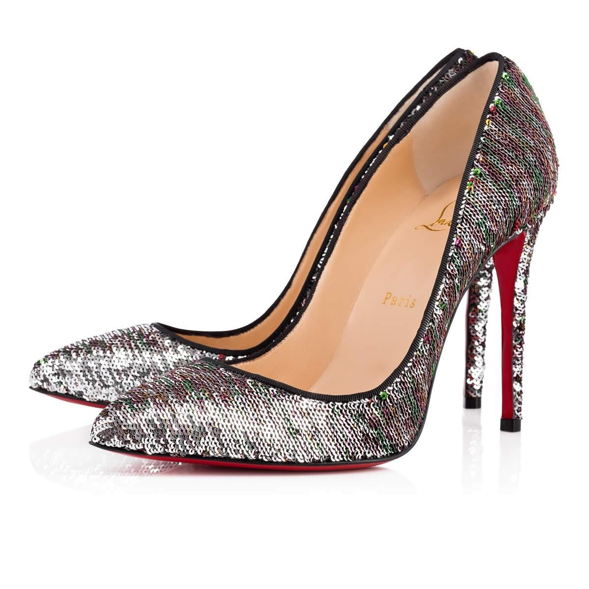 Christian Louboutin Silver Pigalle Follies 100 Sequin Red Green ...