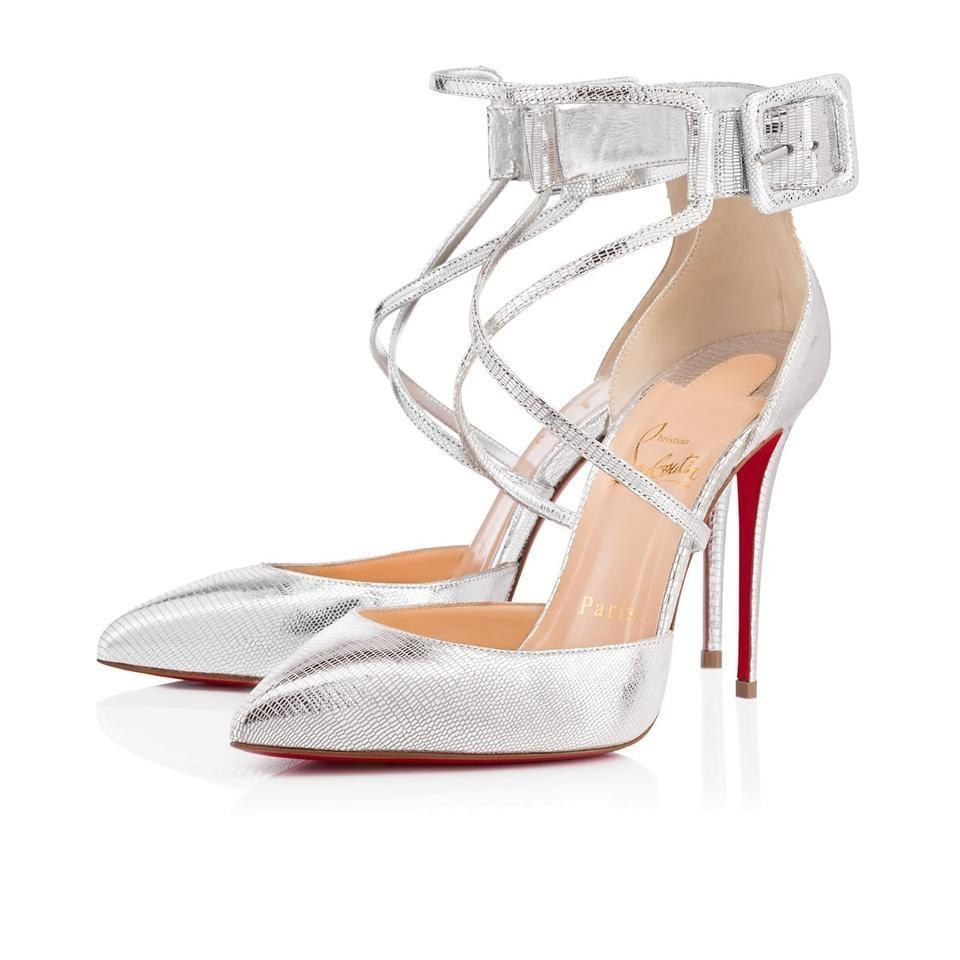 0ce128e2d2ae Christian Louboutin Silver Suzanna 100mm Laminato Dino Leather Leather  Leather Metallic Criss Cross Ankle Buckle Pumps Size EU 39.5 (Approx.