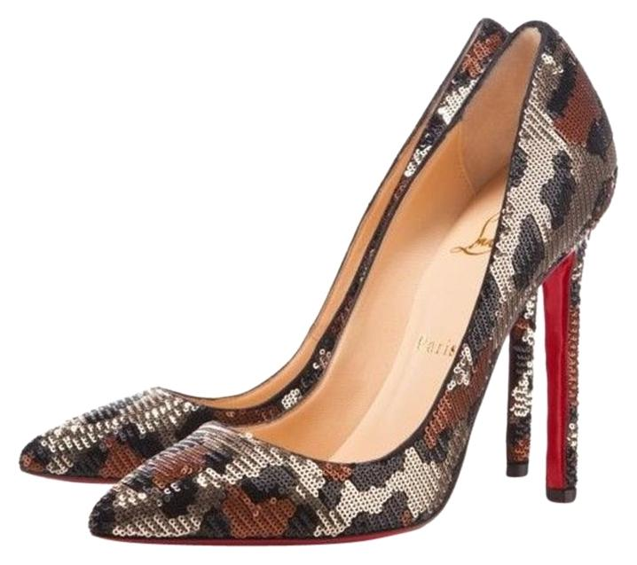 44d5c3de0d1 ... pigalle follies 85 leather pumps cbf07 92552  inexpensive christian  louboutin animal print paillettes stiletto silver brown black pumps 73b91  71af0