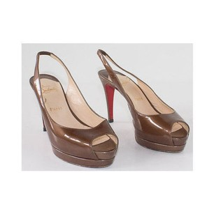 Christian Louboutin Patent Leather Platform Sling Back Heels Brown Pumps