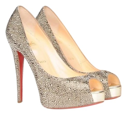 2387828bc4d ... coupon code for christian louboutin strass swarovski crystal light gold  pumps 11ed4 933a2