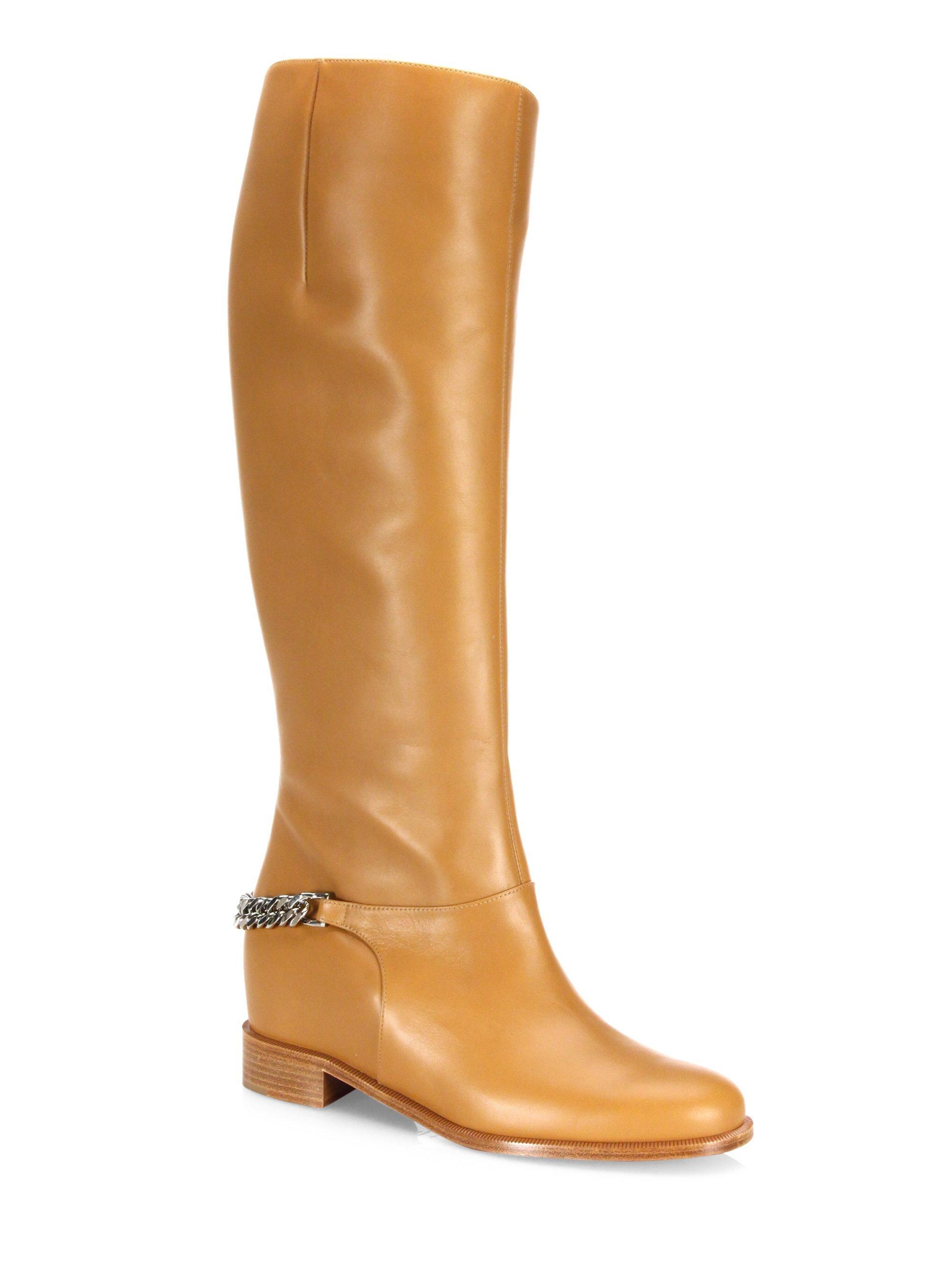 Christian Louboutin Tan Cate Laiton Leather Silver Chain Knee High Boots/Booties Size EU 37 (Approx. US 7) Regular (M, B)