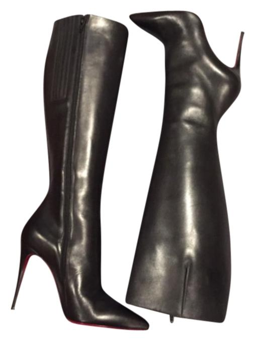 Christian Louboutin Tournoi Classic Black Leather Knee 100mm 39.5 Boots/Booties Size US 9.5 Regular (M, B)