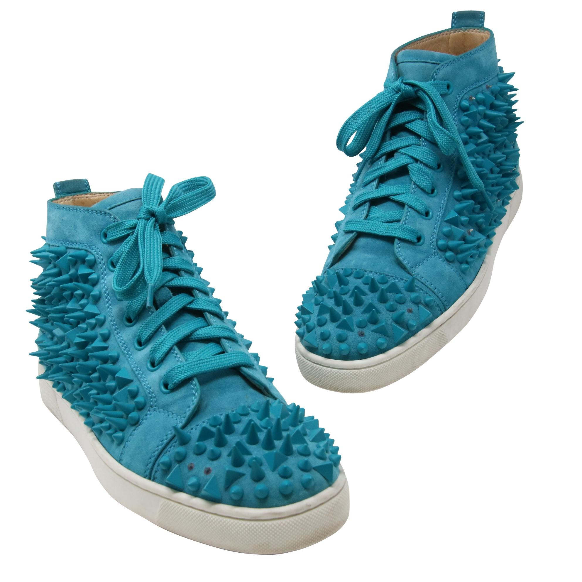 Christian Louboutin Turquoise Classic Louis Flat Studded Spikes Men's High Top Sneakers 41 Formal Shoes Size US 8 Regular (M, B)