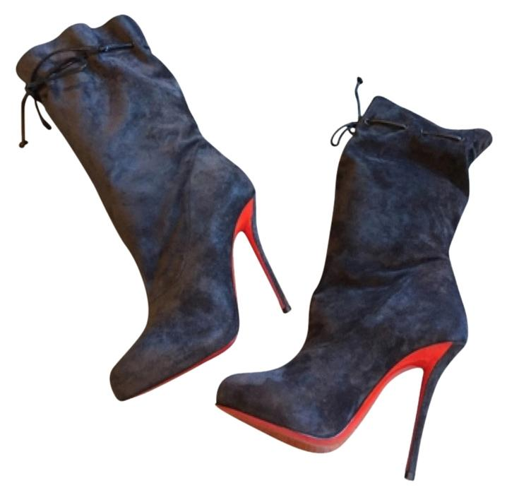 Christian Louboutin Valentine 120mm Mid Calf Blue Suede Nuit Boots/Booties Size US 8 Regular (M, B)