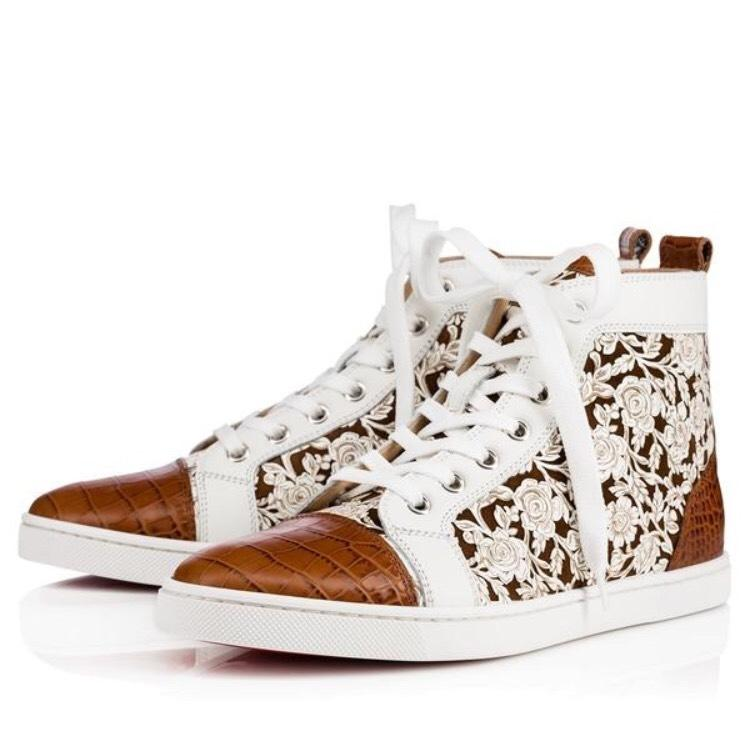 Christian Louboutin White Leather/ Brown Croc Bip Bip Sneakers Size EU 39.5 (Approx. US 9.5) Regular (M, B)