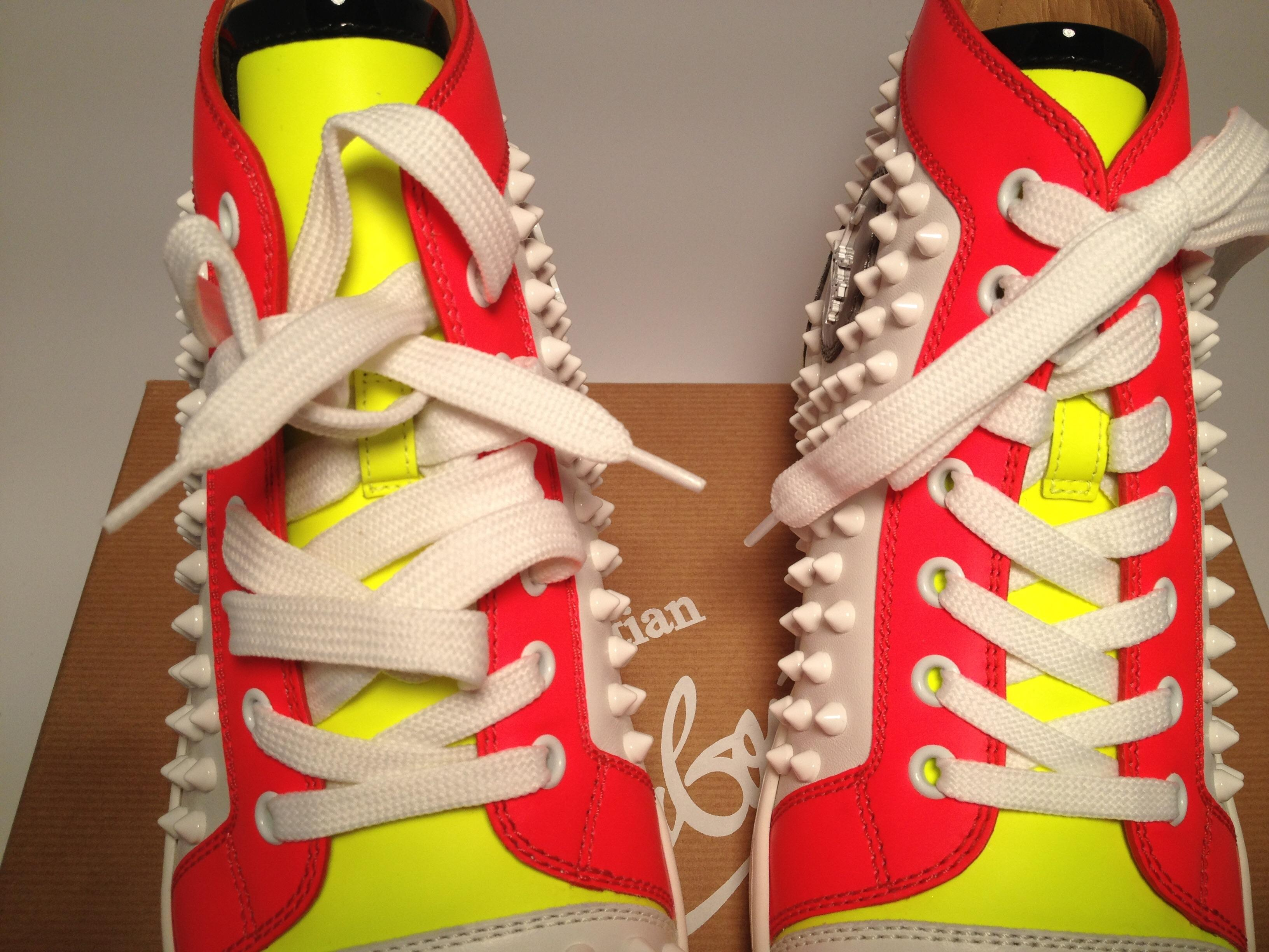 a362b6083 ... Christian Louboutin White Louis Spike Spike Spike Rantus High Top  Sneakers 37  285 Sneakers Size ...