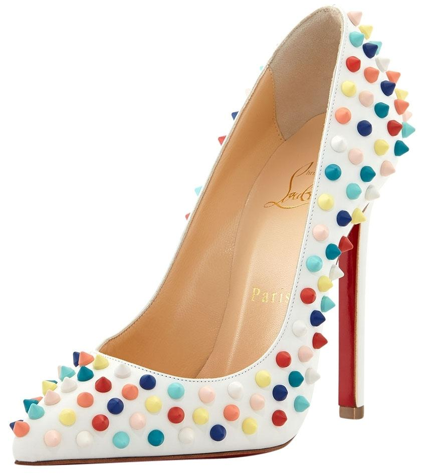 Christian Louboutin White Multicolor New Pigalle 120 Mm Gomme Spikes Leather Pumps Size US 9