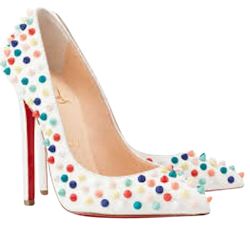 Christian Louboutin White Pigalle 120 Red Multi Spike Pumps Size EU 40 (Approx. US 10) Regular (M, B)