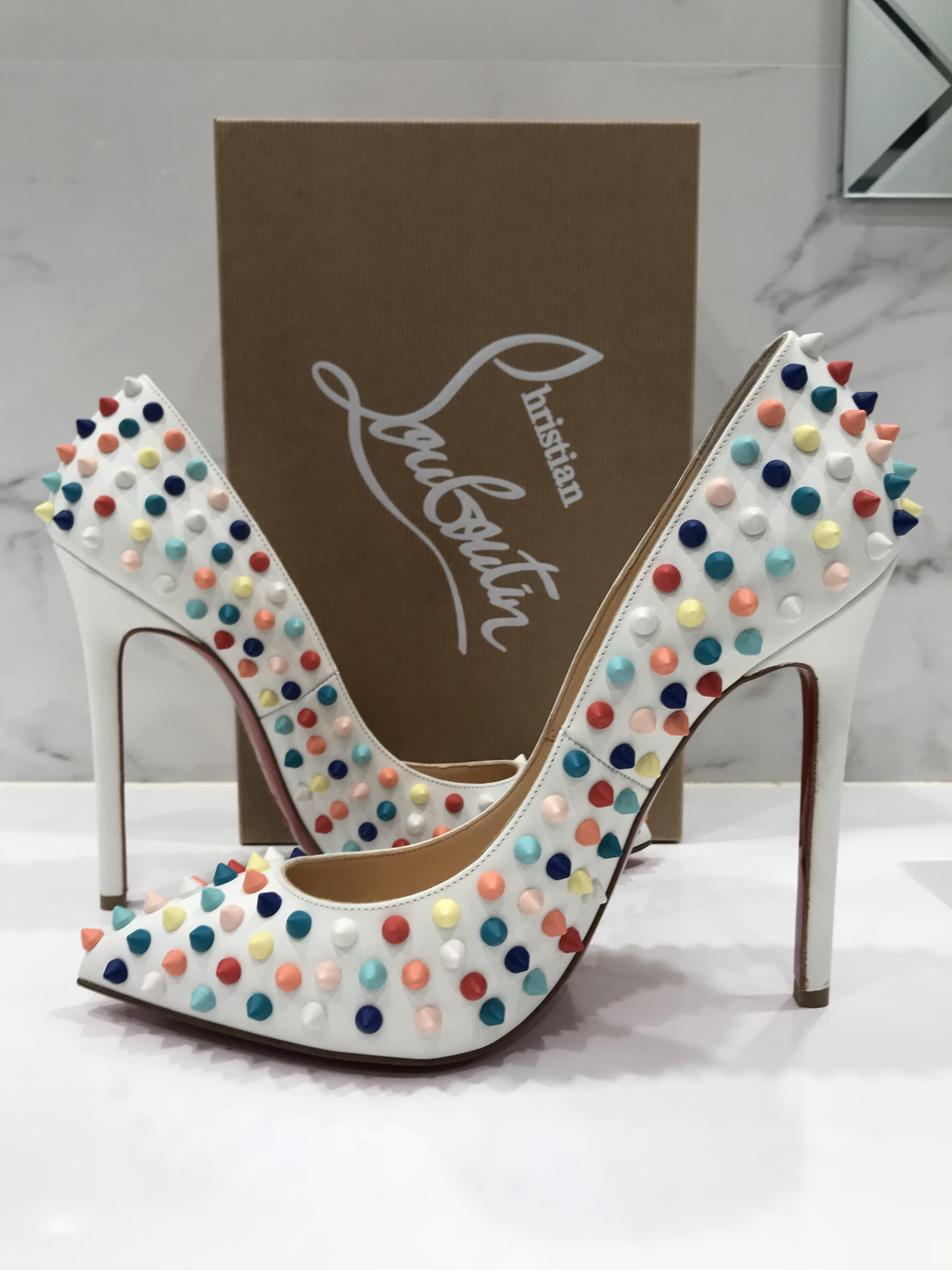 46c644ab5710 ... Christian Louboutin White Pigalle 120 120 120 Red Multi Spike Pumps  Size EU 40 (Approx ...
