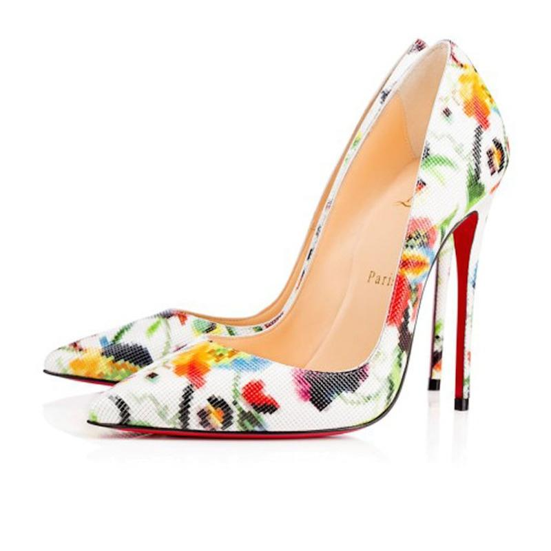 5a9946da4278 Christian Louboutin Louboutin Louboutin White So Kate 120 Mosaique Flower  Patent Heel Pumps Size EU 37.5