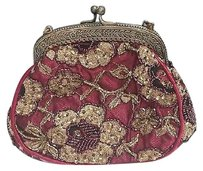Christiana Vintage Satin Lace Gold Floral Beaded Evening B633 Burgundy Clutch