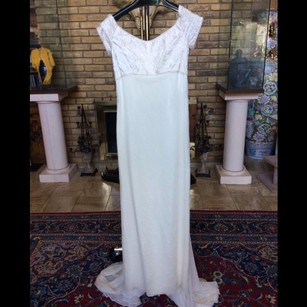 CHRISTOS White Silk Vintage Wedding Dress Size 10 (M)