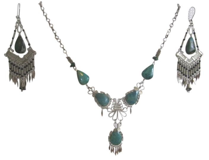 Chrysocolla Boho Necklace Earring Set