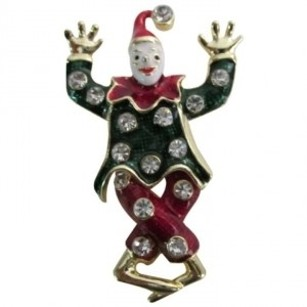 Gold Red Green Circus Funny Cute Clown Funny Clothes Colorful Costume Brooch/Pin