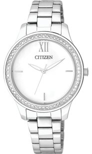 Citizen Citizen EL3081-58A Ladies Quartz Crystal White Dial Silver-Tone Watch.