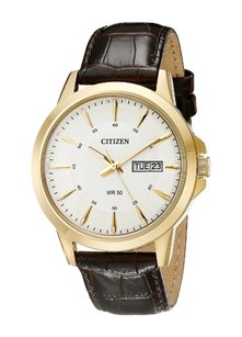 Citizen Citizen Mens Dress Gold Tone Stainless Steel Leather Strap Watch Bf2018-01a