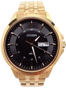 Citizen Citizen Bf2013-56e Mens Gold Tone Stainless Steel Day Date Black Dial Watch