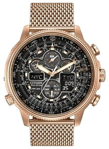 Citizen Men's Citizen Eco-Drive Navihawk A-T Rose Gold-Tone Black Dial Watch