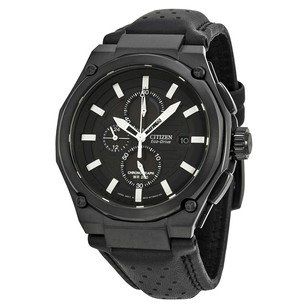 Citizen Sport Eco-drive Chronograph Black Dial Black IP Steel Men's Watch