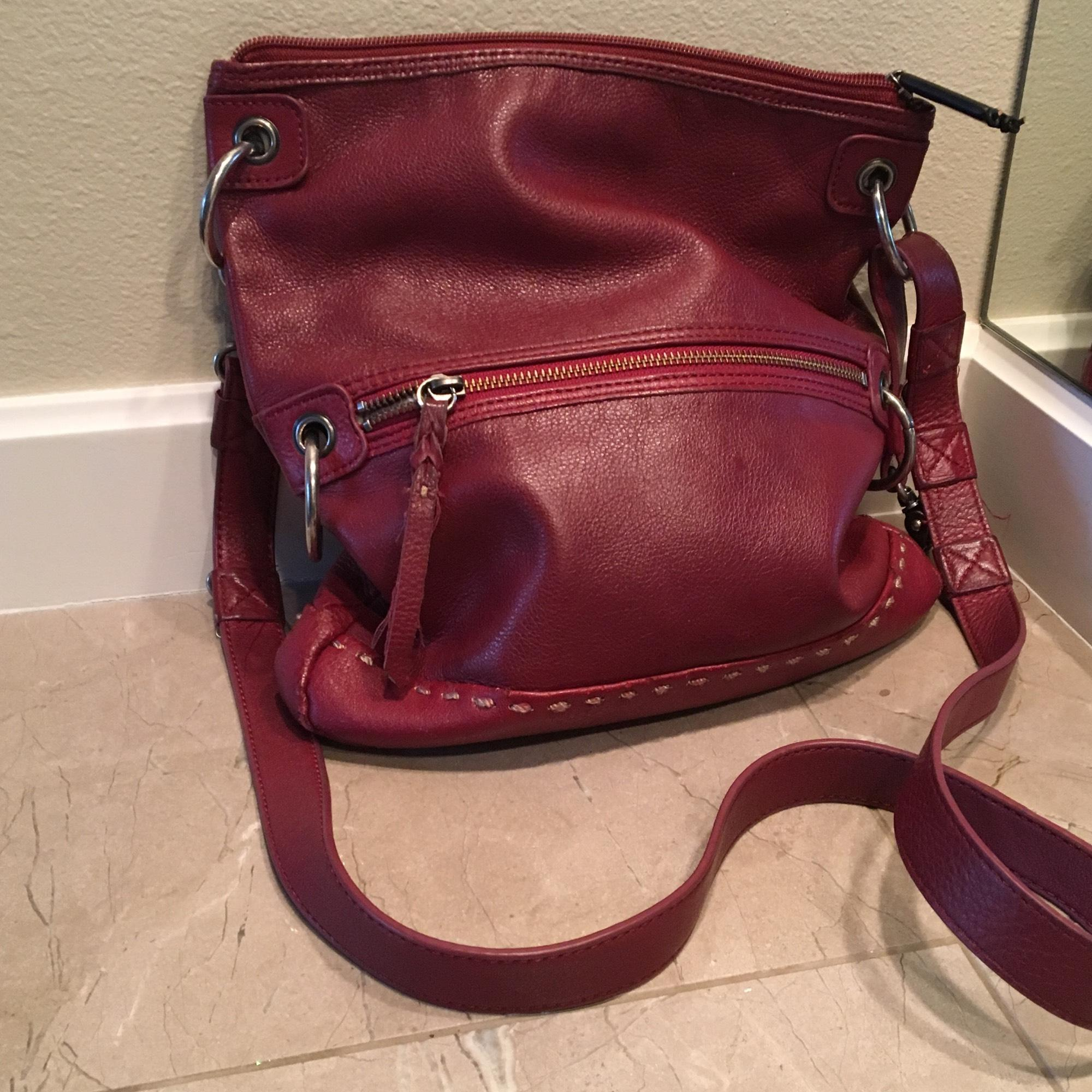 Clarks Leather Convertible Tote Clutch Red Cross Body Bag 80%OFF ... c38d32f74c716