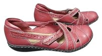 Clarks Womens Leather Double Buckle Strap Slide On Casual B3395 Red Flats