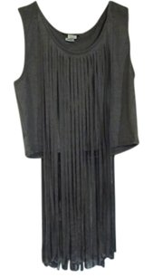 cleo Faux Suede Fringe Top gray