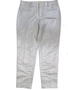 Club Monaco Womens Sarah Crop Metallic Silver Capri/Cropped Pants White,silver