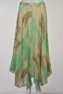 Club Monaco Womens Printed Pleated Ankle Length Casual Skirt Green
