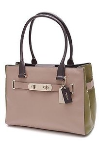 Coach Stone Colorblock Tote in Beige, green, navy