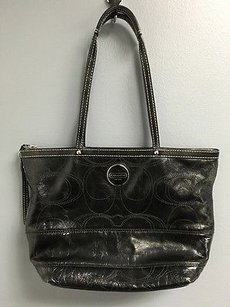 Coach Patent Leather C Tote in Black