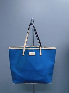 Coach Park Metro Pantent Leather Thin Strap B3053 Tote in Blue And Tan