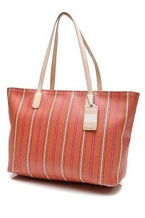 Coach Ticking Striped Canvas Legacy Tote in Orange