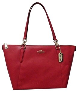 Coach Red Crossgrain Leather Ava Style F35808 Tote in True Red