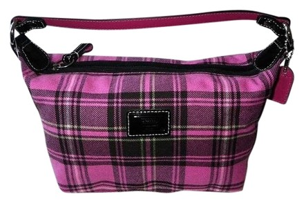 Preload https://item4.tradesy.com/images/coach-and-tartan-top-handle-cosmetic-pouch-purse-nice-pink-black-green-plaid-fabric-patent-leather-t-726118-0-0.jpg?width=440&height=440