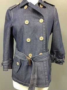 Coach Denim Lined Button Front Bow Sleeve Accent Sma 6580 Coat