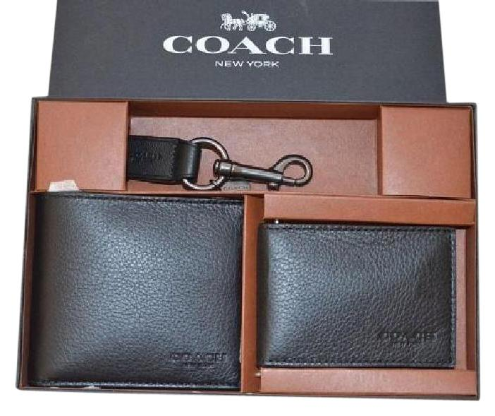 a78d0c7d1020b ... top quality coach coach f64118 compact id black wallet in sport calf  leather gift set f1d5c ...