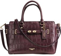 Coach Blake Croc Embossed Carryall Satchel in OX BLOOD