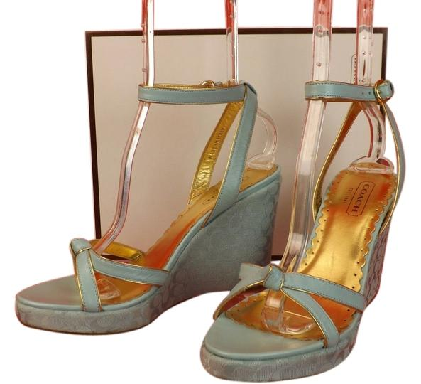 Coach Canvas Ankle-Strap Wedges