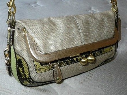 Coach Louis Vuitton Dooney Bourke Gucci Chanel Rare Beige/Natural Straw, Green trim Clutch
