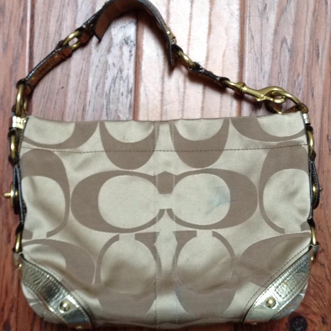 b610ee78427a ... discount code for coach hardware leather logo sateen pocket hobo bag.  12345678 ab5f7 2fe29 reduced coach 13305 carly beige brown ...